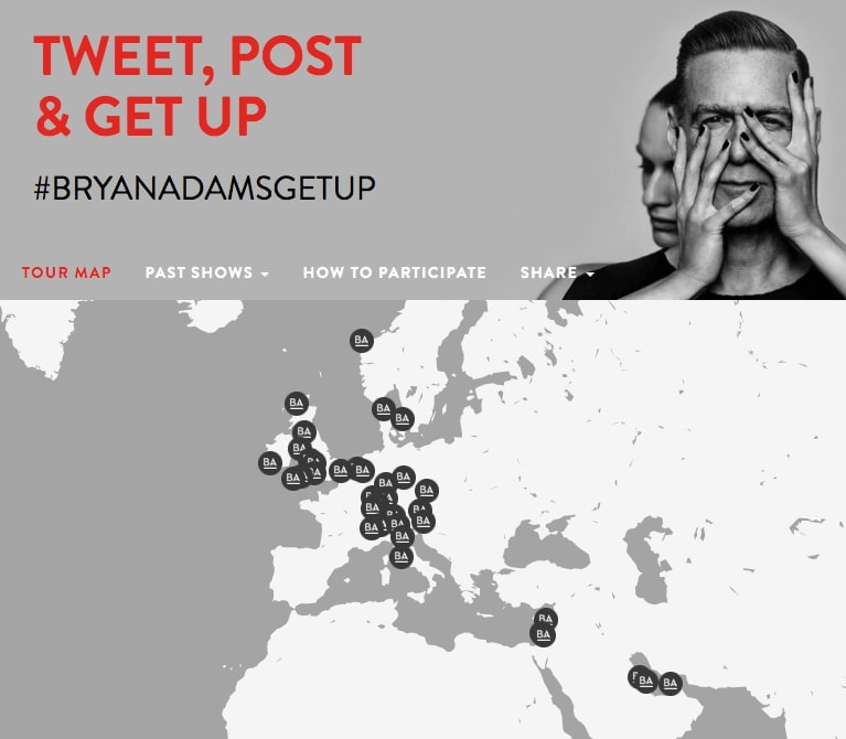 Bryan Adams World Tour - Geolocation Twitter