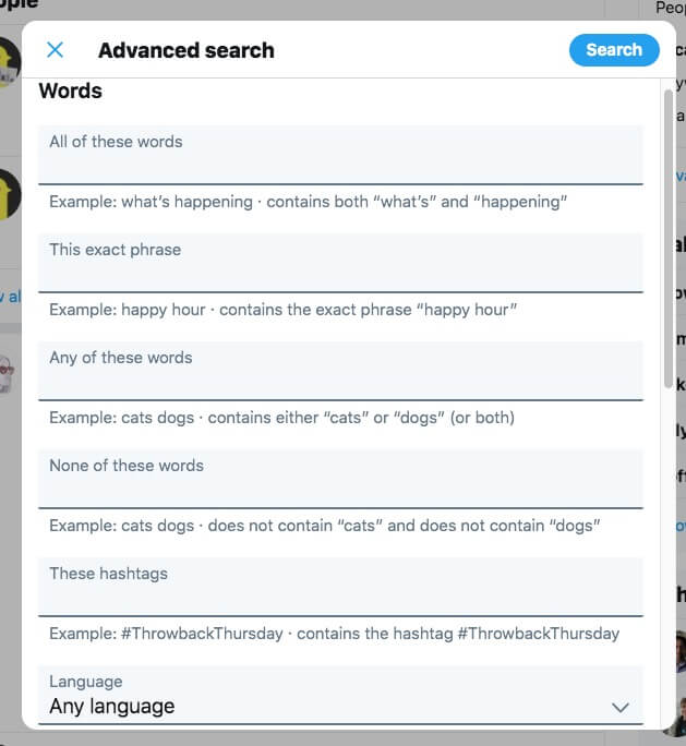 Twitter advanced search dashboard