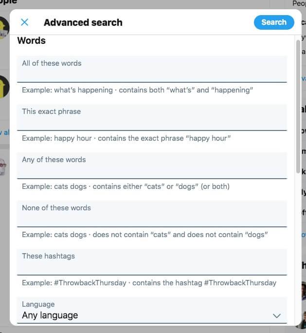 Twitter advanced search dashboard
