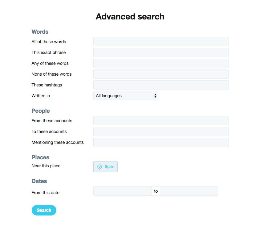 Twitter.com advanced search