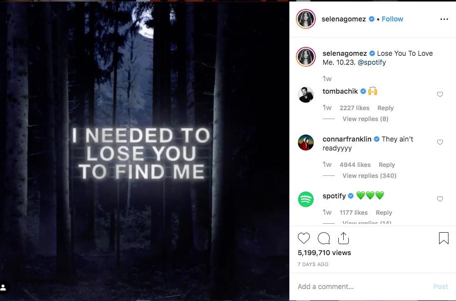 Selena Gomez es una de las cuentas de Instagram con más seguidores