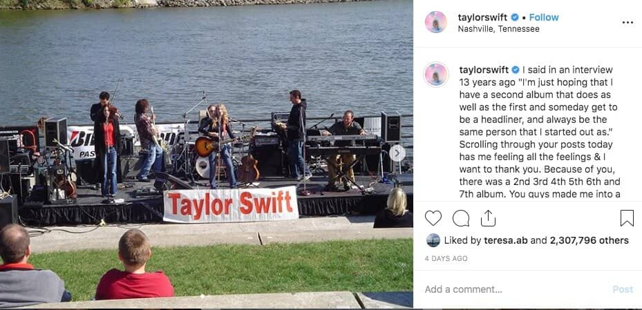 Taylor Swift is one of the top Instagram accounts