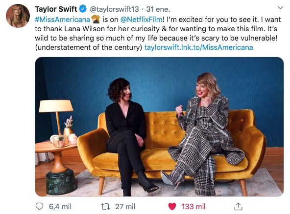 Twitter engagement by Taylor Swift