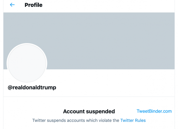 Twitter Donald Trump suspended