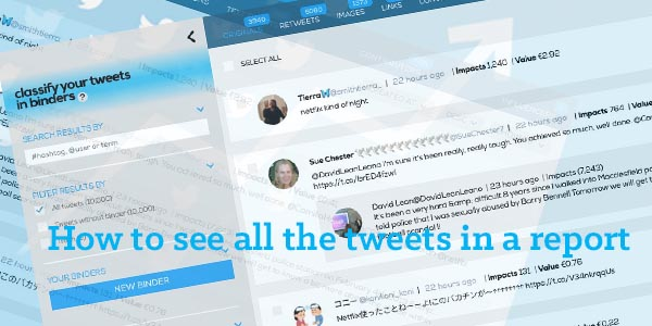 How to see the tweets in a report