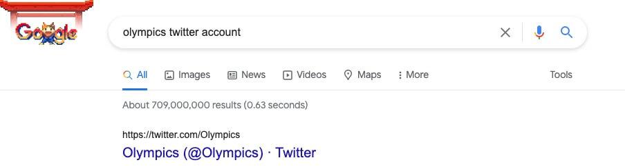 google search olympics twitter